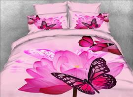 Vivilinen Butterfly and Pink Lotus Printed Cotton 4-Piece 3D Bedding Sets/Duvet Covers