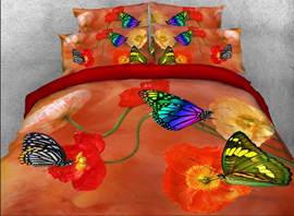 Butterfly and Poppy Printed Cotton 4-Piece 3D Bedding Sets/Duvet Covers