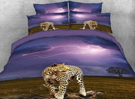 Vivilinen Leopard and Lightning Printed Cotton 4-Piece 3D Bedding Sets/Duvet Covers