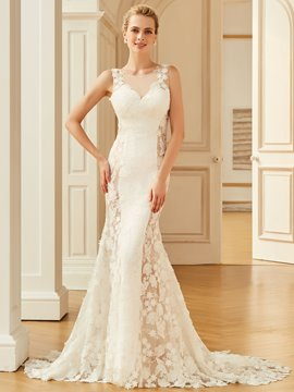 Ericdress Scoop Mermaid Lace Backless Wedding Dress