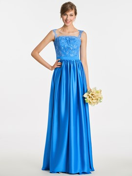 Ericdress Scoop Appliques A Line Long Bridesmaid Dress