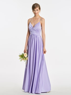 Ericdress Spaghetti Straps V Neck A Line Long Bridesmaid Dress