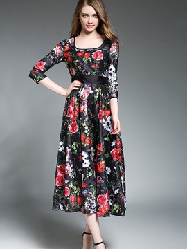 Ericdress Square Neck Floral Print Lace-Up Expansion Maxi Dress