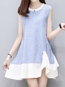 Ericdress Sleeveless Striped Ruffled Casual Dress