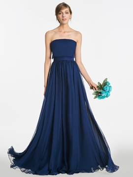 Ericdress Strapless A Line Long Bridesmaid Dress