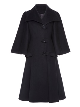 Ericdress A Line Mid-Length Single-Breasted Coat