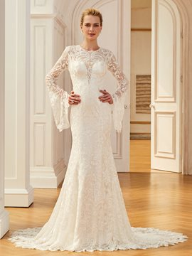 Ericdress Jewel Mermaid Lace Long Sleevs Wedding Dress