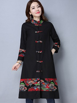 Ericdress Loose Long Print Floral Trench Coat