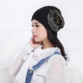 Ericdress Women's New Knitting Rhinestone Cotton Hat
