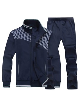 Ericdress Cotton Color Block Pocket Casual Men's Sports Suit