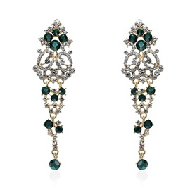 Ericdress Vintage Diamante Emerald Drop Earring for Women