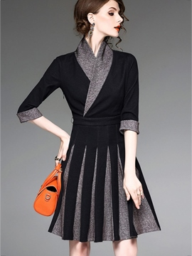 Ericdress Half Sleeves Patchwork Pleated A Line Dress