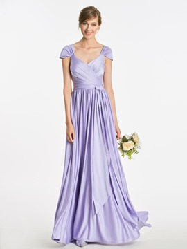 Ericdress Cap Sleeves V Neck A Line Long Bridesmaid Dress