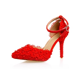 Ericdress Red Pointed Toe Stiletto Heel Wedding Shoes with Beads
