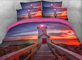 Vivilinen Lighthouse at Sunset Printed Cotton 3D 4-Piece Bedding Sets/Duvet Covers