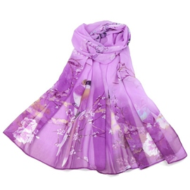 Ericdress Chinese Elements Peony&Magpie Print Scarf for Women