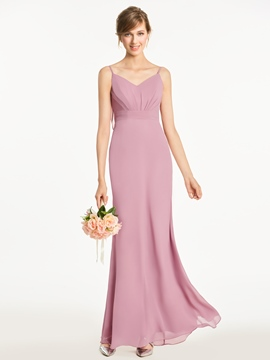 Ericdress Backless Spaghetti Straps Sheath Long Bridesmaid Dress