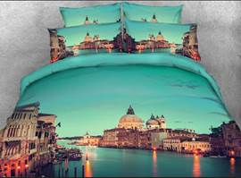 Vivilinen 3D Grand Canal in Venice Printed Cotton 4-Piece Bedding Sets/Duvet Covers