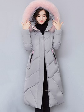 Ericdress Plain Fur Collar Down Coat