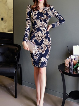 Ericdress V-Neck Long Sleeves Floral Print Bodycon Dress