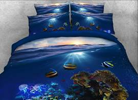 Vivilinen Tropical Fish Printed Cotton 4-Piece 3D Bedding Sets/Duvet Covers