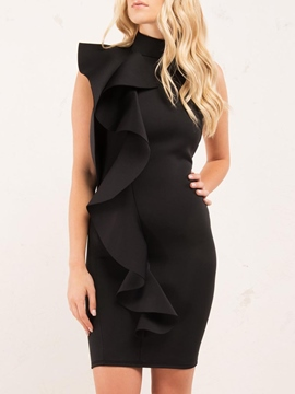 Ericdress Ruffles Turtleneck Backless Bodycon Dress