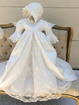 Ericdress Scoop Half Sleeves A Line Appliques Baby Christening Gown