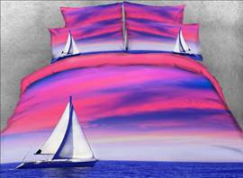 Vivilinen Ship on the Sea Printed Cotton 3D 4-Piece Bedding Sets/Duvet Covers