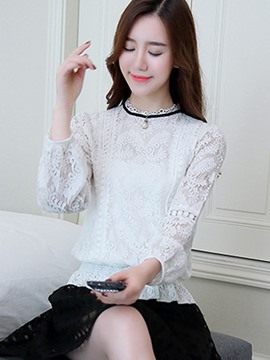 Ericdress Lace Stand Collar See-Through Blouse