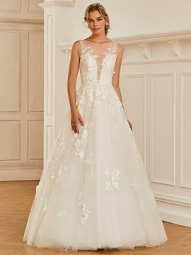 Ericdress Bateau Lace Ball Gown Tulle Wedding Dress