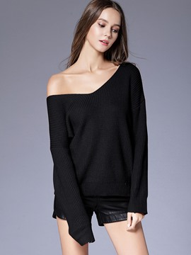Ericdress V-Neck Plain Lace-Up Pullover Knitwear