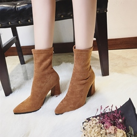 Ericdress Pointed Toe Back Zip Chunky Heel Boots