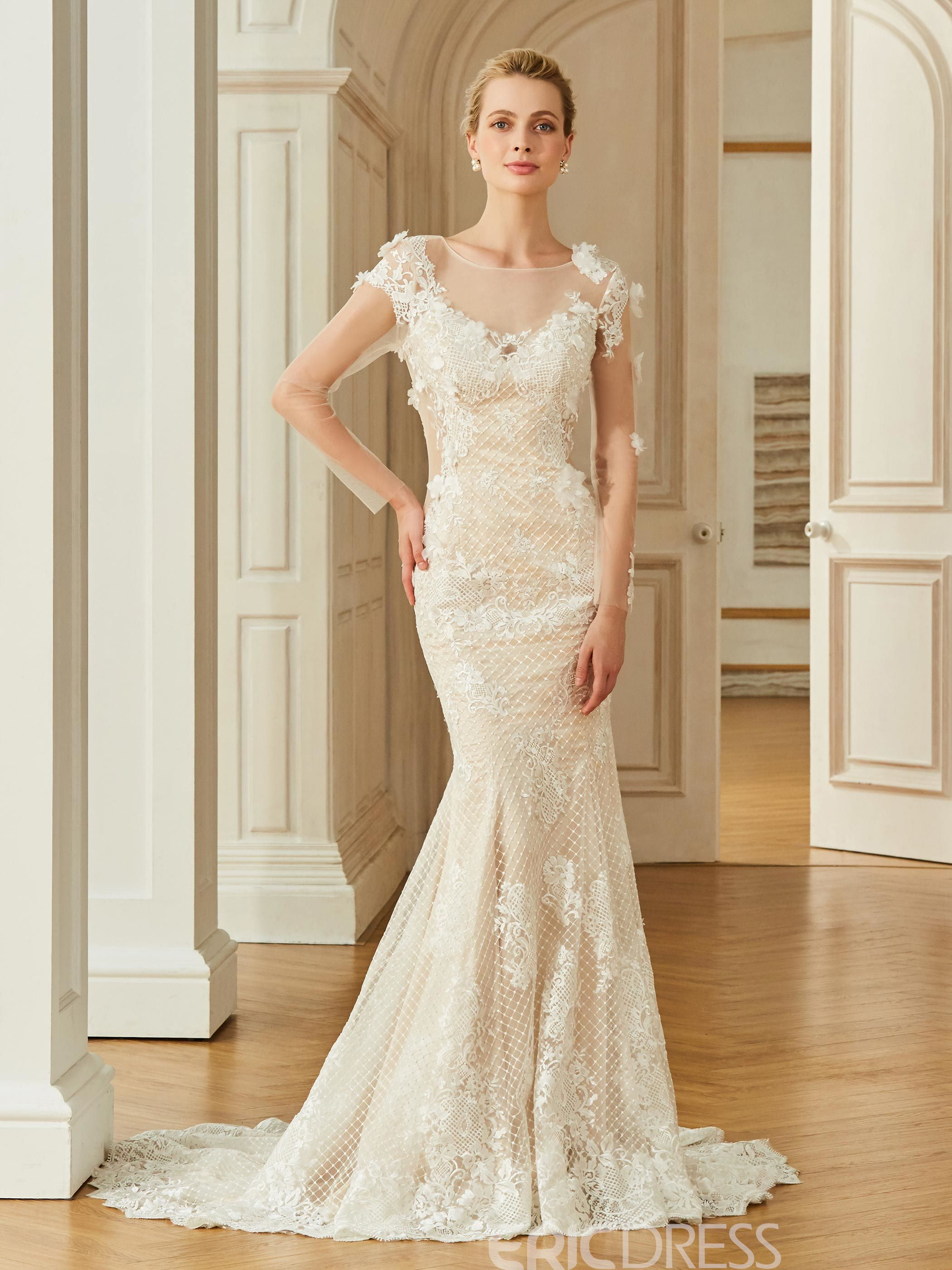 Ericdress Long Sleeves Mermaid Appliques Color Wedding Dress