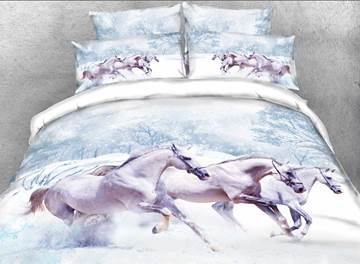 White Horse in Snow Printed Cotton 4-Piece 3D Bedding Sets/Duvet Covers