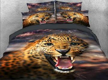 Vivilinen 3D Wild Leopard with Sharp Teeth Printed 4-Piece Bedding Sets/Duvet Covers