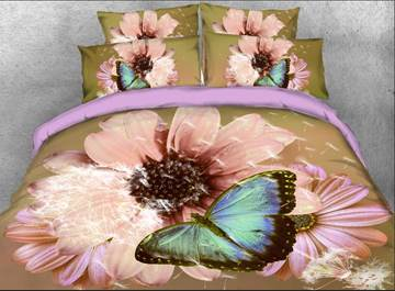 Vivilinen Coneflower and Butterfly Printed Cotton 4-Piece 3D Bedding Sets/Duvet Covers