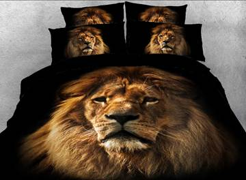 Lion Face Printed Cotton 3D 4-Piece Black Bedding Sets/Duvet Covers
