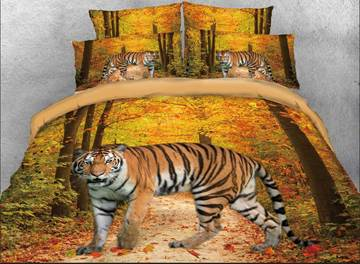vivilinen 3d tiger in the forest coton ensembles de literie / housses de couette