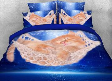 Sleeping Kitten in a Hammock Printed 4-Piece 3D Bedding Sets/Duvet Covers