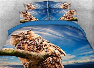Vivilinen Owl Perching on the Branch Printed 3D 4-Piece Bedding Sets/Duvet Covers