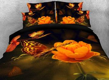 Vivilinen Globeflower and Butterfly Printed Cotton 3D 4-Piece Bedding Sets/Duvet Covers