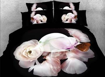 Vivilinen 3D Light Pink Blossom and Brown Butterfly Printed 4-Piece Black Bedding Sets
