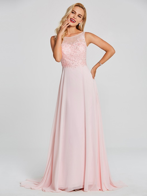 Ericdress Bateau Neck Beaded Appliques A Line Evening Dress