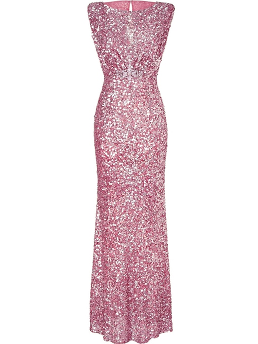 Ericdress Sequin Backless Floor-Length Maxi Dress