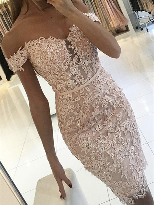 Ericdress Sheath Off The Shoulder Applique Beaded Bodycon Homecoming Dress