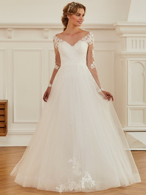 Ericdress V Neck Appliques Long Sleeves Wedding Dress