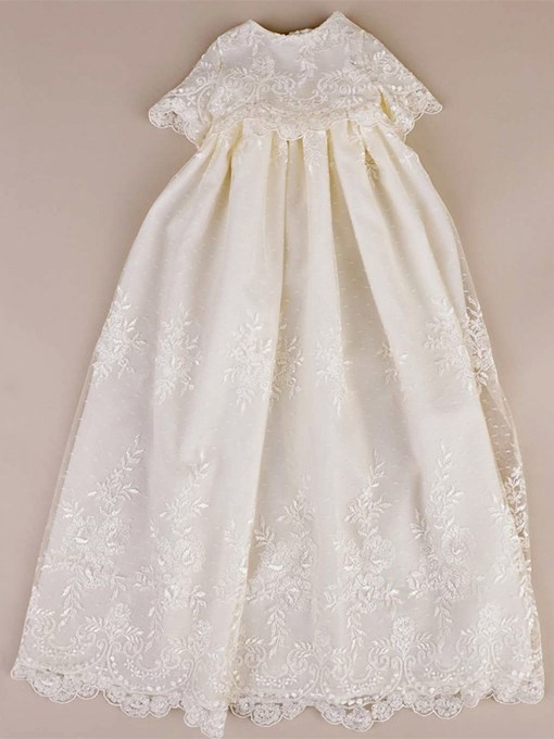 Ericdress Scoop A Line Tulle Short Sleeves Baby Christening Gown
