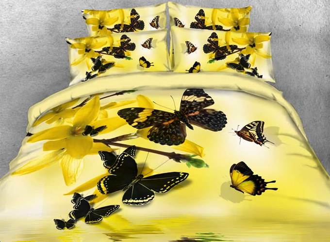 Yellow Forsythia and Butterfly Printed Cotton 4-Piece 3D Bedding Sets/Duvet Covers