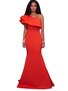 Ericdress Ruffles One-Shoulder Solid Color Maxi Dress