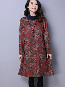 Ericdress High Neck Floral Print Long Sleeves Casual Dress
